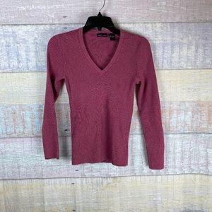 Moda International Ribbed V-Neck Sweater A6
